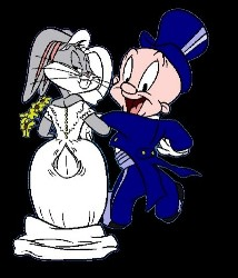 the happy couple - Bugs and Elmer